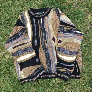 Tundra Canada Coogi Style Sweater Funky Colors EUC